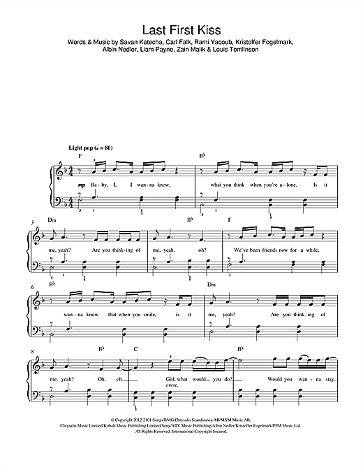 Last First Kiss Sheet Music