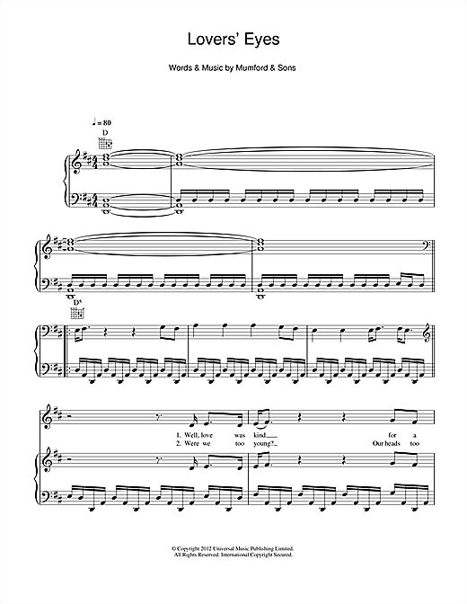 Lovers' Eyes Sheet Music
