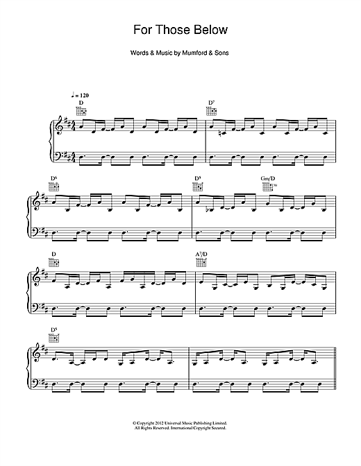 For Those Below Sheet Music