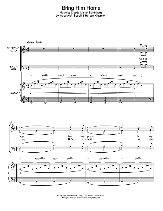page one of Bring Him Home (from Les Miserables) (arr. Francis Shaw)ASALTTEXT