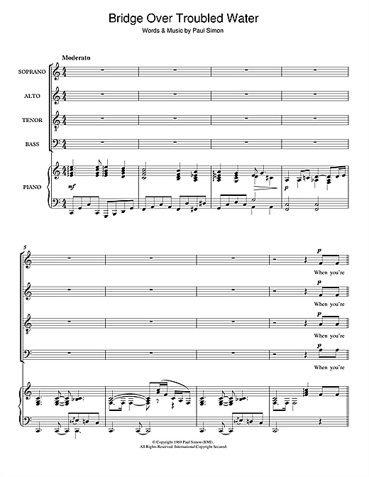 Bridge Over Troubled Water (arr. Clyde Sechler) (SATB Choir)