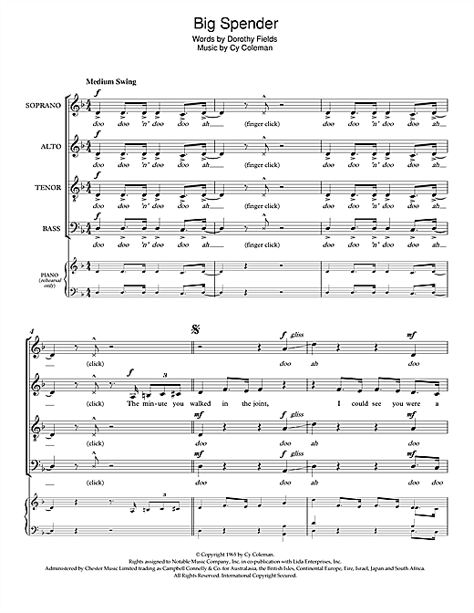 Partition chorale Big Spender (from Sweet Charity) de Shirley Bassey - SATB