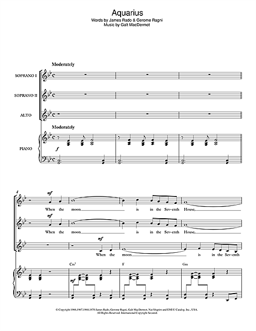Aquarius (from 'Hair') Sheet Music