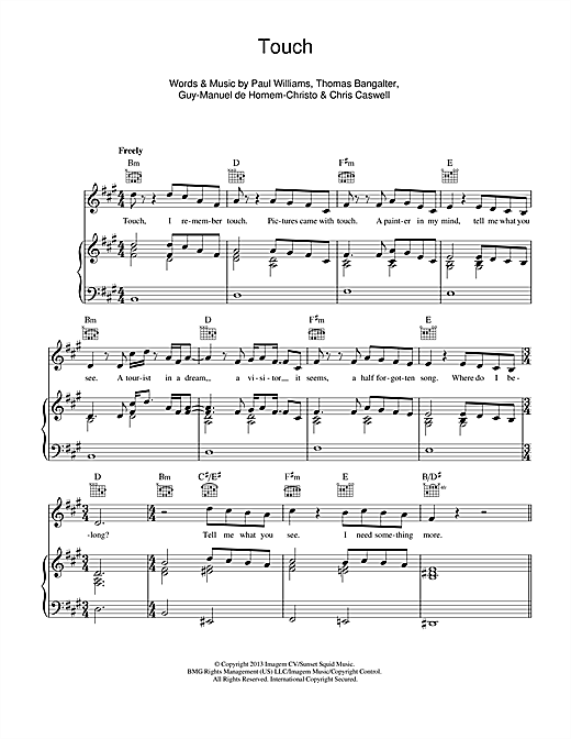 Touch Sheet Music