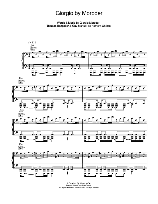 Giorgio By Moroder Sheet Music