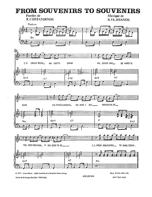From Souvenirs To Souvenirs Sheet Music