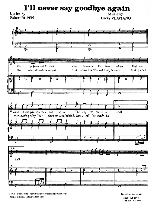 I'll Never Say Goodbye Again Sheet Music