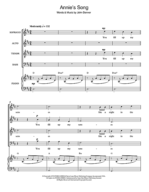 Annie's Song Sheet Music