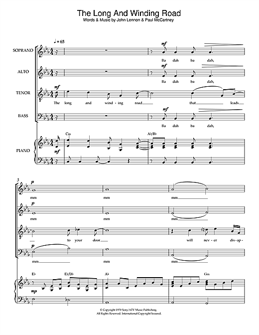 Partition chorale The Long And Winding Road de The Beatles - SATB