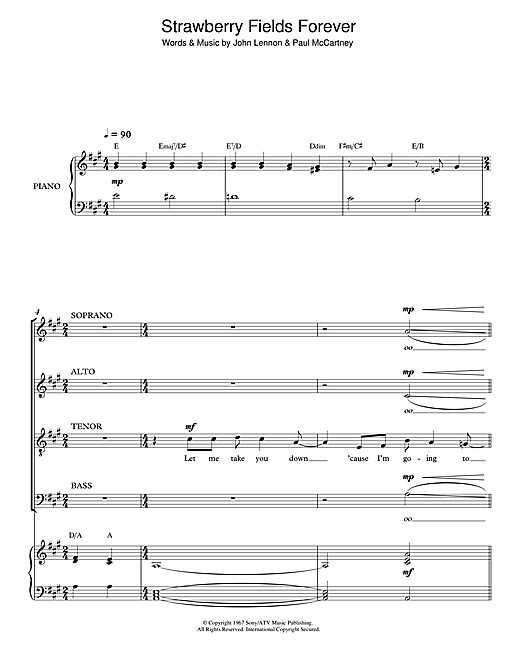 Partition chorale Strawberry Fields Forever de The Beatles - SATB