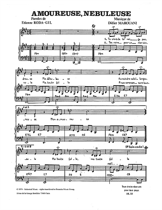 Amoureuse, Nebuleuse Sheet Music