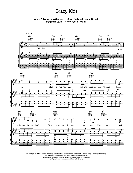 Crazy Kids (feat. Ke$ha) Sheet Music