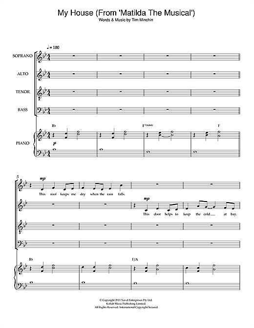 Partition chorale My House (From 'Matilda The Musical') de Original Cast Recording - SATB