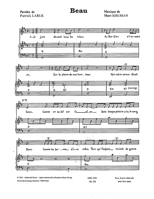 Beau Sheet Music