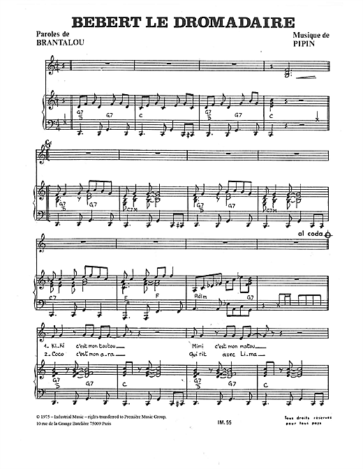 Bebert Le Dromadaire Sheet Music