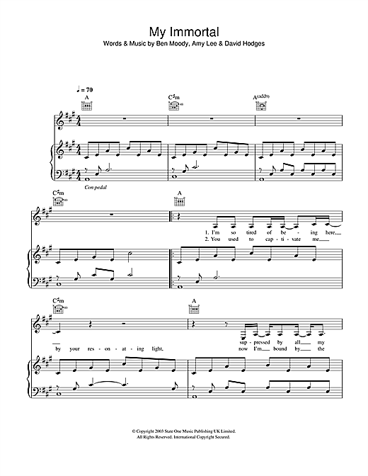 My Immortal Piano Tabs Music Sheets Chords Tablature And Song