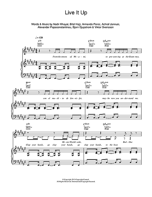 Live It Up Sheet Music