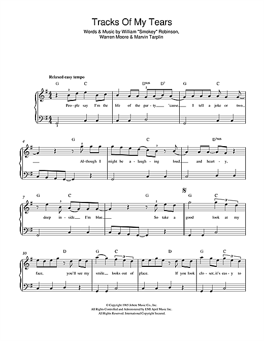 The Tracks Of My Tears Sheet Music