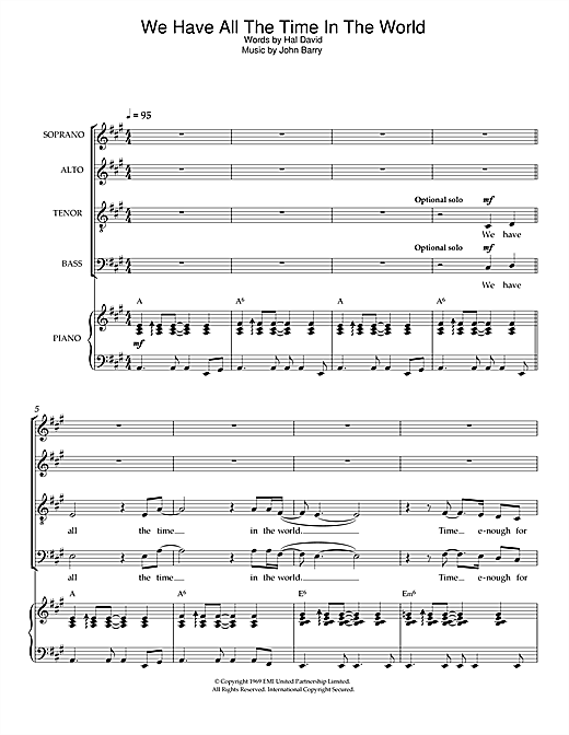 Partition chorale We Have All The Time In The World de Louis Armstrong - SATB