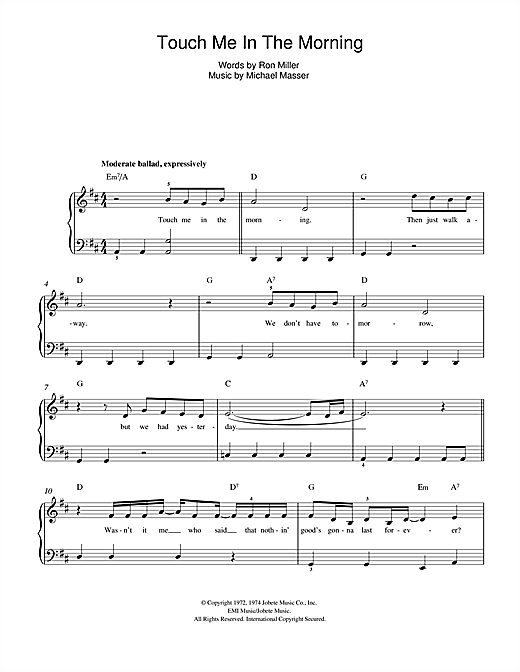 Touch Me In The Morning Sheet Music