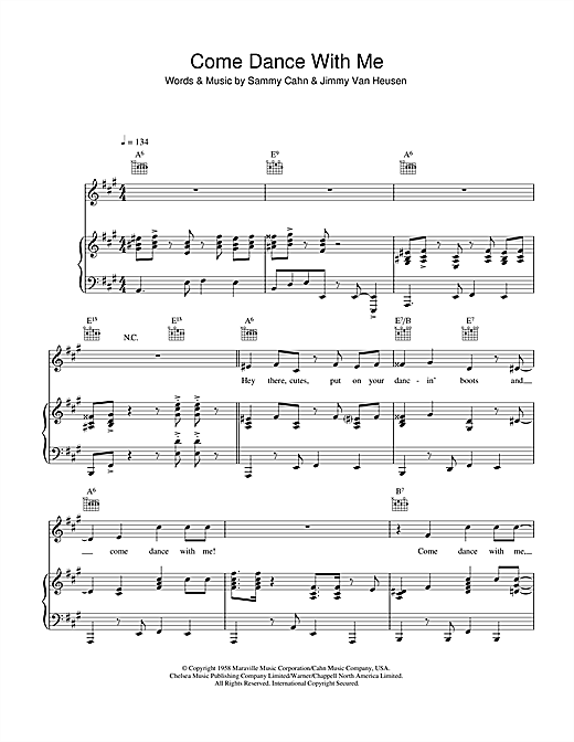 Come Dance With Me (Piano, Vocal & Guitar (Right-Hand Melody))
