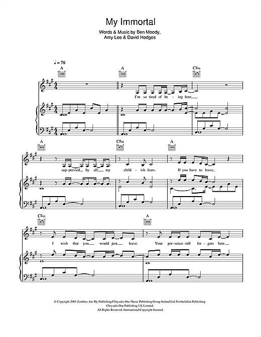 My Immortal Sheet Music By Andrea Begley Piano Vocal Guitar