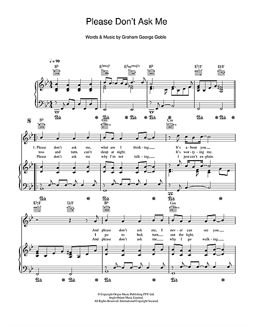 Please Don't Ask Me Sheet Music