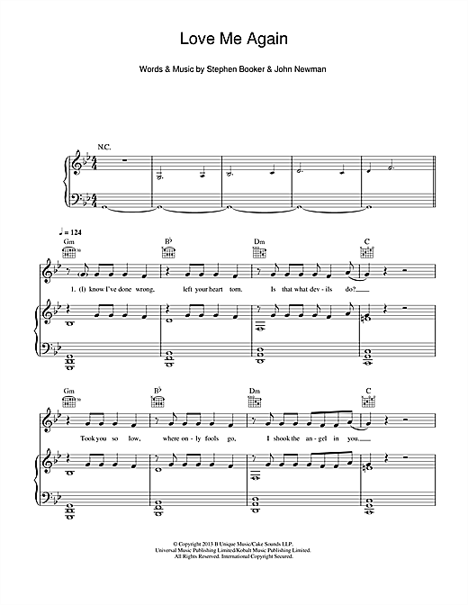 Love Me Again Sheet Music