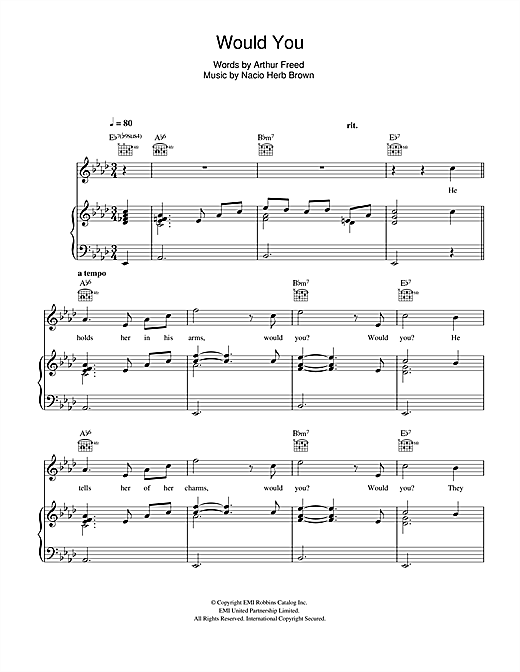 Would You? (from 'Singin' In The Rain') Sheet Music