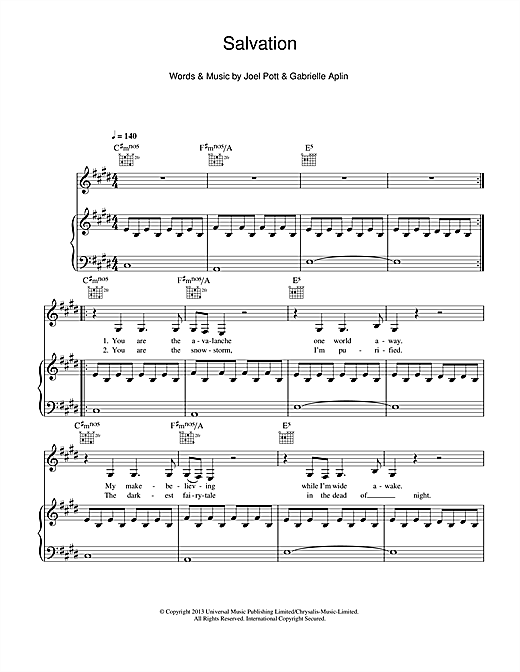 Salvation Sheet Music