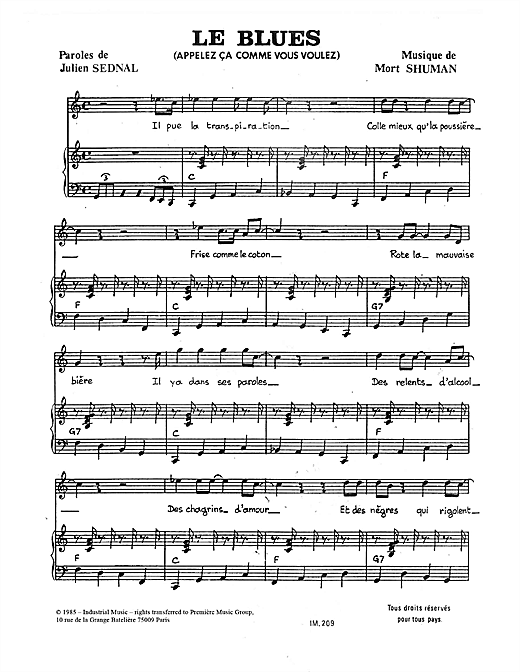 Le Blues Sheet Music