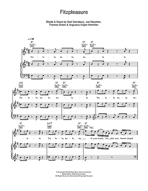 Fitzpleasure Sheet Music