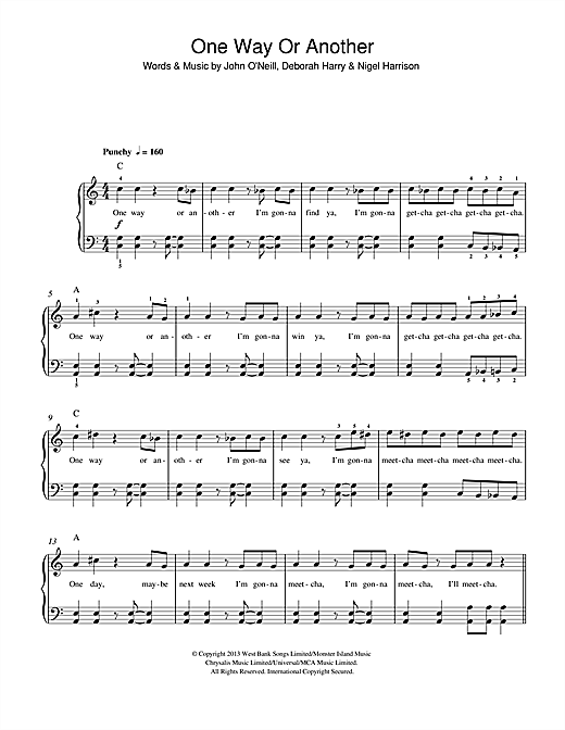 One Way Or Another (Teenage Kicks) (Beginner Piano)