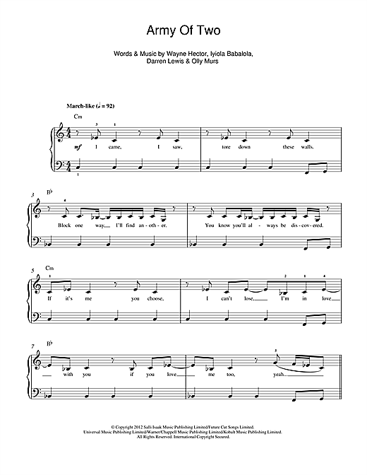 Army Of Two Sheet Music
