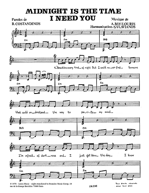 Midnight Is The Time I Need You Sheet Music