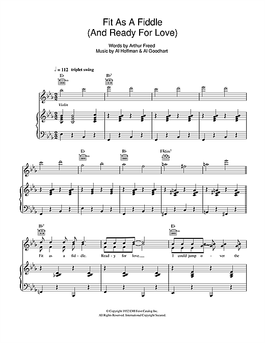Fit As A Fiddle (from 'Singin' In The Rain') Sheet Music