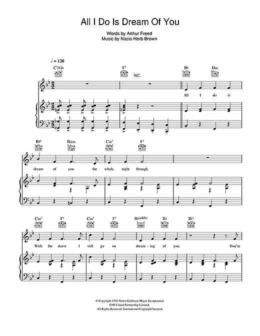 All I Do Is Dream Of You (from 'Singin' In The Rain') Sheet Music