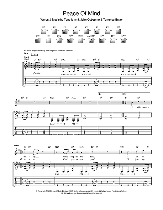 Peace Of Mind Sheet Music