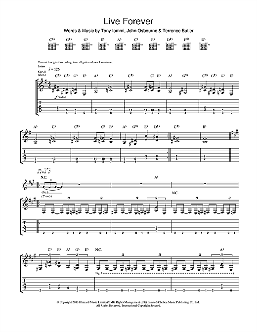 Tablature guitare Live Forever de Black Sabbath - Tablature Guitare