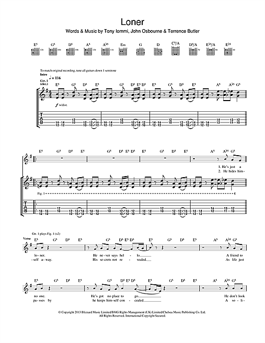 Loner Sheet Music