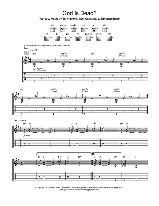 black sabbath god is dead sheet music. Black Bedroom Furniture Sets. Home Design Ideas