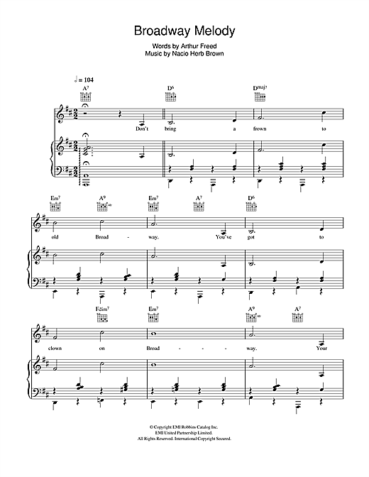 Broadway Melody (from 'Singin' In The Rain') Sheet Music