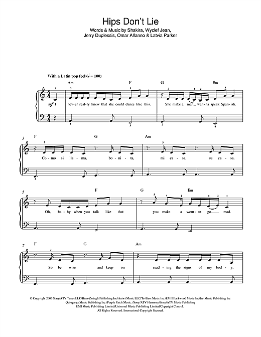 Hips Don't Lie (feat. Wyclef Jean) Sheet Music
