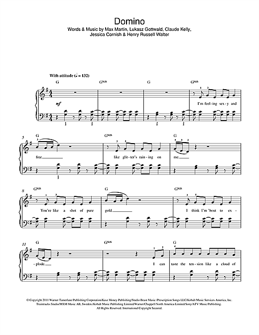 Partition piano Domino de Jessie J - Autre
