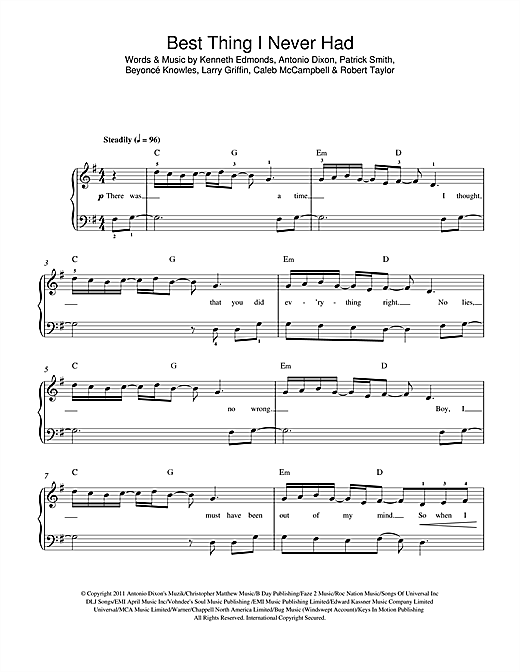 Best Thing I Never Had Sheet Music