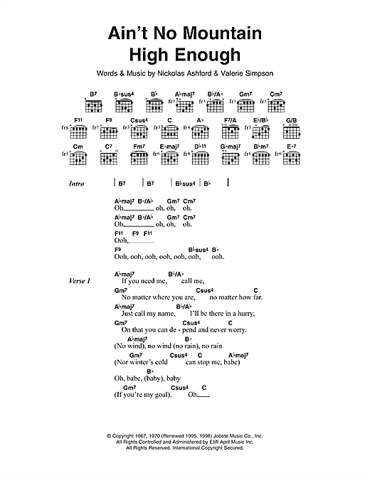 Ain T No Mountain High Enough Guitar Chords Gallery - guitar chord ...