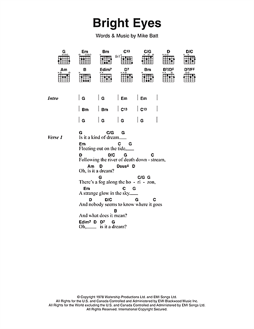 Bright Eyes sheet music by Art Garfunkel (Lyrics & Chords – 116608)