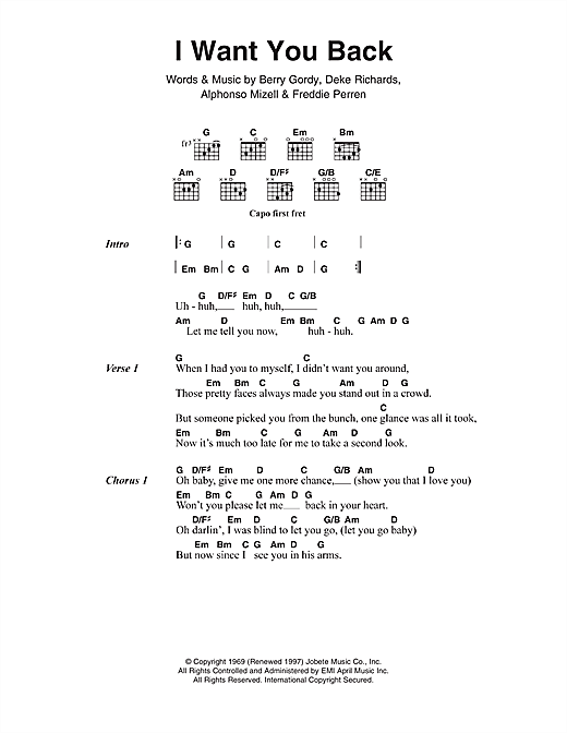 I Want You Back (Guitar Chords/Lyrics)