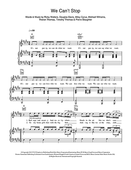 We Can't Stop Sheet Music