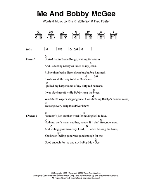 Me And Bobby McGee sheet music by Janis Joplin (Lyrics & Chords ...